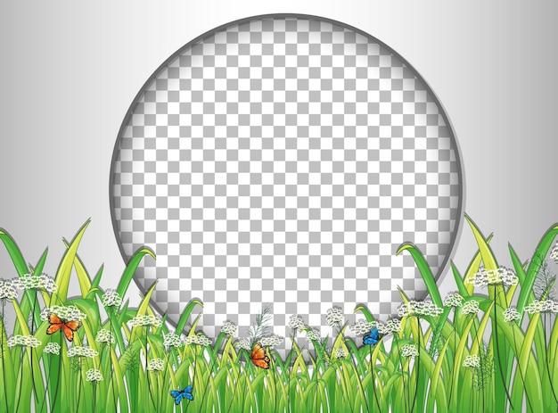 Moldura redonda transparente com modelo de grama verde