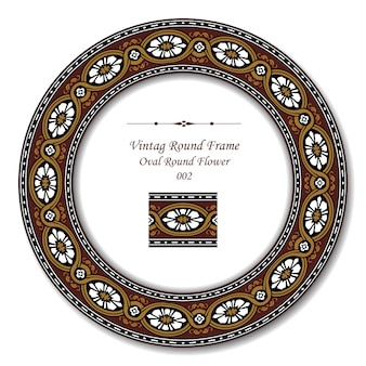 Moldura redonda vintage de flor redonda oval marrom