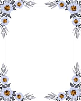Moldura retangular com flor branca e borda cinza para saudação e cartão de casamento