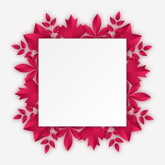 Moldura retangular com folhas de outono de borgonha. ilustração vetorial no estilo de corte de papel com sombras realistas