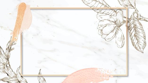 Moldura retangular com pinceladas e contorno de flores decorativas em fundo de mármore