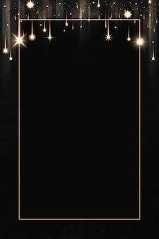 Moldura retangular de ouro com brilho estampado em fundo preto