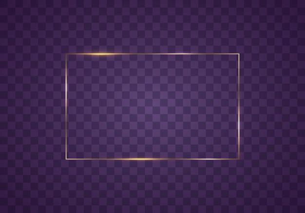 Moldura retangular de ouro com efeitos de luz borda retângulo realístico de luxo dourado vintage brilhante