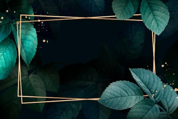 Moldura retangular de ouro com vetor de fundo de padrão de folhagem