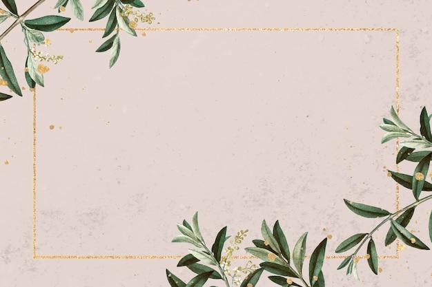 Moldura retangular de ouro com vetor de padrão de ramo de oliveira