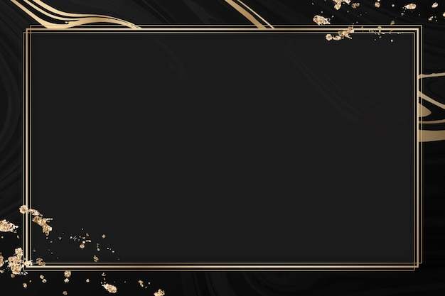 Moldura retangular de ouro em fundo preto com padrão fluido