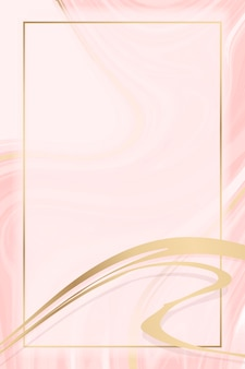 Moldura retangular de ouro em um fundo com padrão fluido rosa