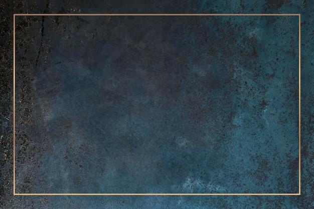 Moldura retangular de ouro em um vetor de fundo azul do grunge