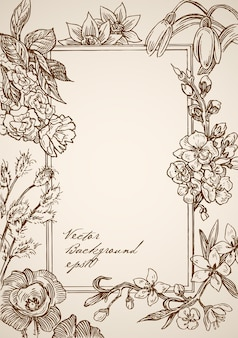 Moldura retangular desenhada à mão vintage gravada com elementos florais