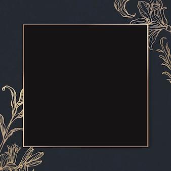 Moldura retangular dourada com contorno floral