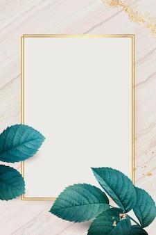 Moldura retangular dourada com fundo de folhagem