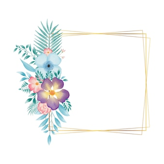 Moldura retangular dourada com guirlanda floral em aquarela colorida
