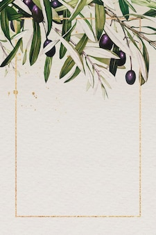 Moldura retangular dourada com padrão de ramo de oliveira