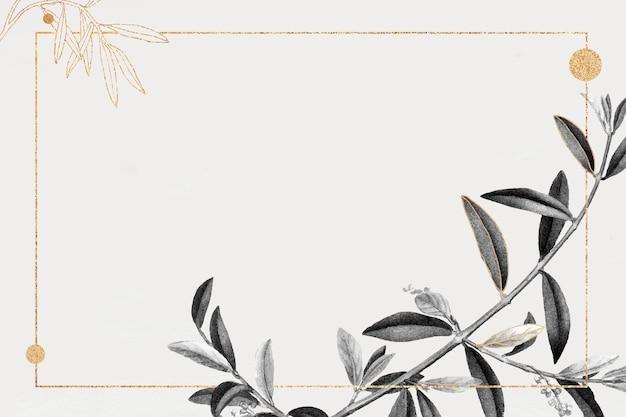 Moldura retangular dourada com ramo de oliveira