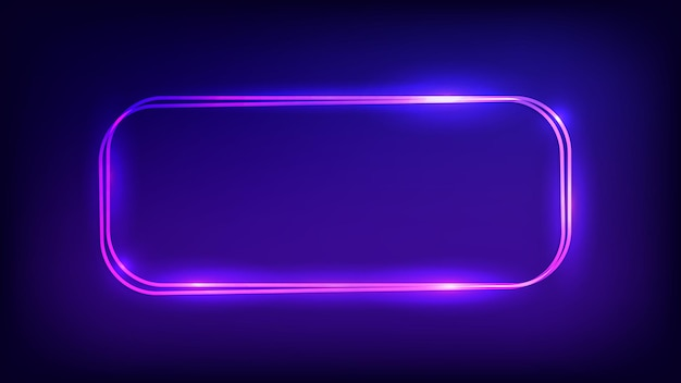 Moldura retangular dupla de néon arredondada com efeitos brilhantes em fundo escuro. pano de fundo vazio de techno brilhante. ilustração vetorial. Vetor Premium
