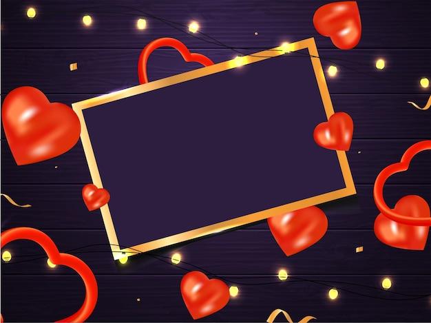 Moldura retangular vazia com corações vermelhos 3d e guirlanda de iluminação