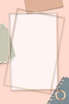 Moldura retângulo de notas rasgadas
