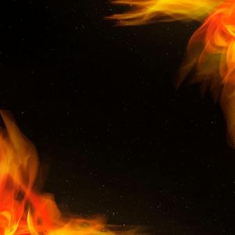 Moldura retro em chamas de fogo vermelho