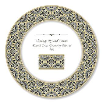 Moldura retro redonda vintage cruzada linha flor, estilo antigo