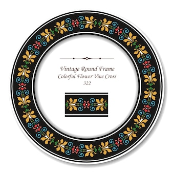 Moldura retro redonda vintage de cruz de videira de flores coloridas