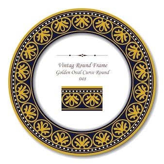 Moldura retro redonda vintage de curva oval dourada linha de pontos redondos
