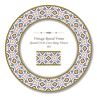 Moldura retro redonda vintage de flor circular redonda
