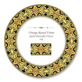 Moldura retro redonda vintage de flor de borboleta em espiral oriental