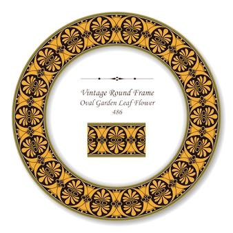Moldura retrô redonda vintage de flor de folha de jardim oval
