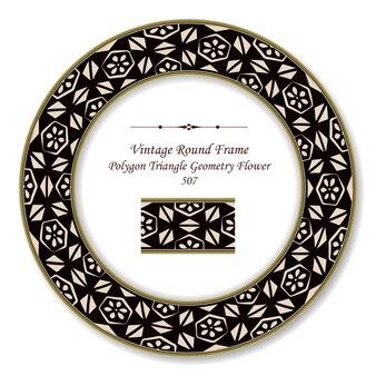 Moldura retro redonda vintage de flor de geometria de triângulo de polígono