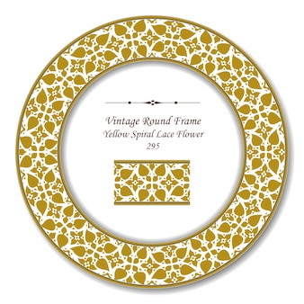 Moldura retrô redonda vintage de flor de renda em espiral amarela