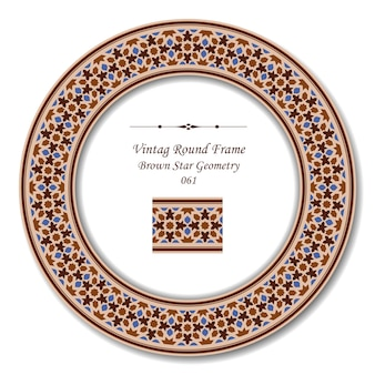 Moldura retrô redonda vintage de geometria estrela marrom islâmica