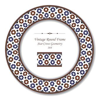 Moldura retrô redonda vintage de geometria islâmica star cross