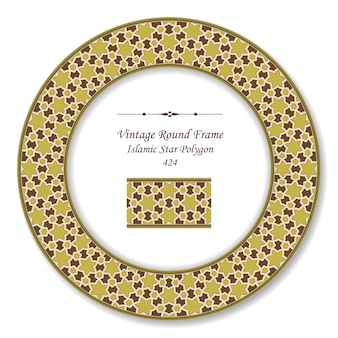 Moldura retrô redonda vintage de polígono estrela marrom islâmica