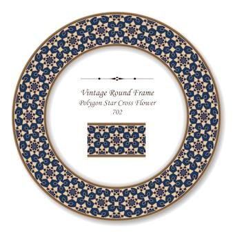 Moldura retro redonda vintage estrela cruzada de polígono flor, estilo antigo