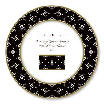Moldura retro redonda vintage flor cruzada, estilo antigo
