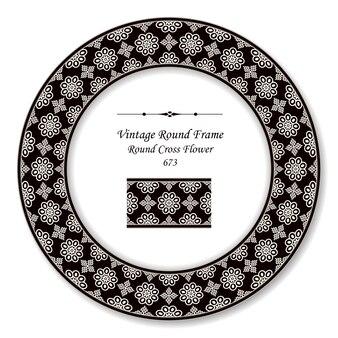 Moldura retrô redonda vintage flor cruzada redonda branca preta, estilo antigo
