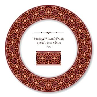 Moldura retro redonda vintage flor da cruz vermelha, estilo antigo