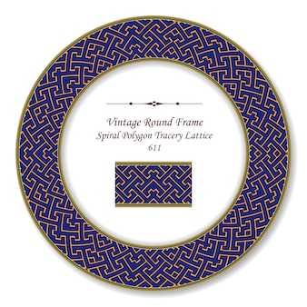 Moldura retro redonda vintage geometria espiral polígono cruz treliça rendilhado, estilo antigo