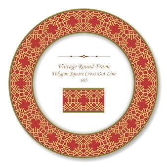 Moldura retro redonda vintage polígono dourado verificar linha de ponto cruzado quadrado, estilo antigo