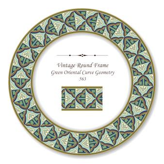 Moldura retro redonda vintage verde curva oriental linha geométrica dourada
