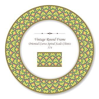 Moldura retro vintage redonda curva oriental em espiral chintz