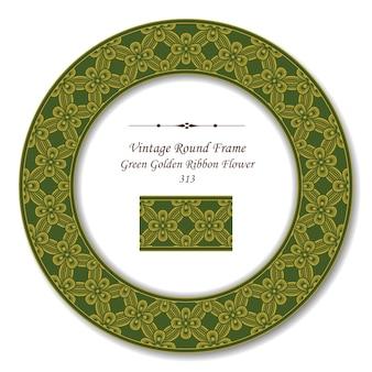 Moldura retro vintage redonda de flor fita dourada verde
