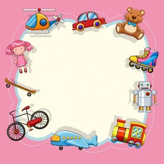 Moldura rosa com brinquedos para crianças