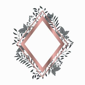 Moldura rosa de ouro com folhas cinzentas