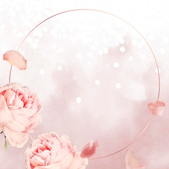 Moldura rosa rosa redonda