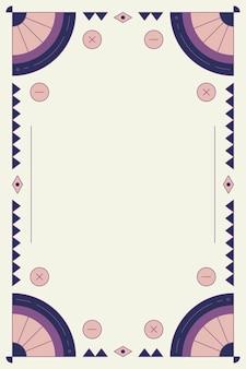 Moldura roxa em branco com padrão geométrico étnico