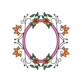 Moldura simples com flor monoline