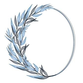 Moldura simples com folha azul e cinza para saudação e cartão de casamento
