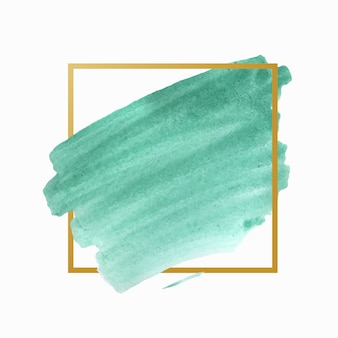 Moldura simples de mancha dourada em aquarela