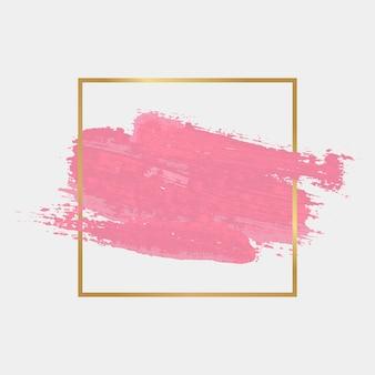 Moldura simples dourada com mancha de aquarela